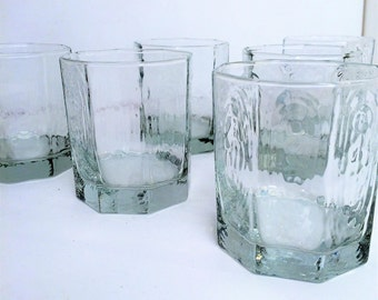 Vintage Whiskey Scotch 6 Glasses Libbey Rock Sharpe Facets, Set of 6, 1970's