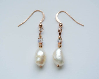 Long Rose Gold Filled, Swarovski Crystal and Ivory White Freshwater Baroque Pearl  Drop Earrings