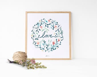 LOVE PRINT: Valentine gift ideas - Love poster decor - instant download art - love postcard - Hand painted watercolor clip art
