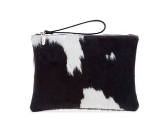 Cowhide Clutch | Black and White Cowhide Clutch | Oversized Clutch Bag | Large Black Clutch