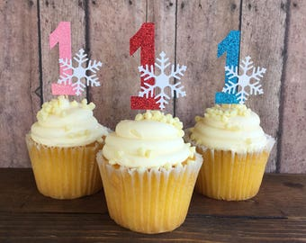 Winter Onederland Cupcake Topper / Winter Onederland Birthday / Winter Onederland Party / Winter Birthday Cupcake Toppers / Snowflake Decor