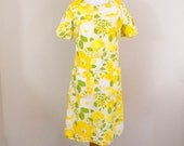 60s Yellow Day Dress - S/M - 60s Dress - Vintage Dress - 60s Clothing - Yellow Vintage Dress - Summer Dress - Day Dress - Casual Dress