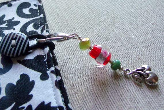 Cherry Zipper pull - enamel charms - fruit stitch markers - pink green beads - 2.5  inch long - for knitter /crochet -  gift set - cherries