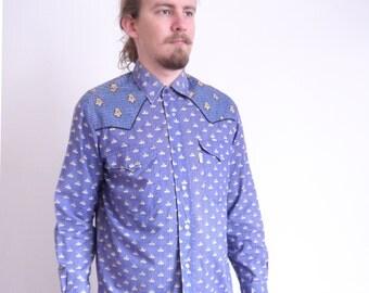 Mistral Vintage shirt 80s 90s Paisley print Blue Shirt Long sleeve Prairie Cowboy Provencal Hipster shirt French shirt large size