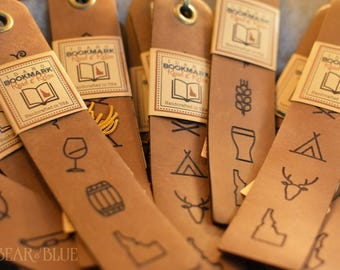 "Leather Bookmark with Tassel, Several ""Idaho Ideogram"" Designs Available!"