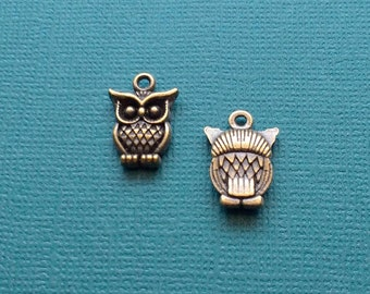 10 Owl Charms Bronze - CB2789