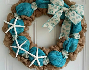 Coastal wreath nautical wreath starfish wreath turquoise wreath beach wreath burlap wreath Beach house wreath lake house wreath