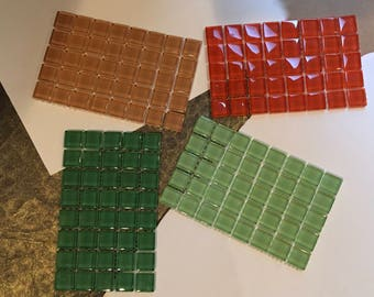 Glass, Mosaic, Tiles, 160 total,  approx., 7/8 inch / 22 mm,  7 mm, thick, square, 4, lively colors, red-orange, two greens, & caramel