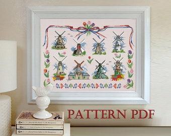 Dutch Windmills - cross stitch pattern PDF, Counted Cross stitch, Holland ,Dutch tulips ,windmill sampler, Instant Download