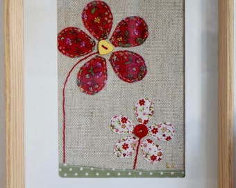 Flowers wall art - applique textile art - red - frame - picture - floral- embroidery - for her - gift - handmade