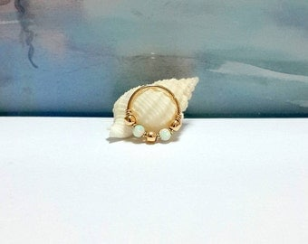 24g 22g 20g Gold fire opal 2mm beads cartilage earring, helix, tragus, opal 2mm nose hoop,bohemian jewelry, Valentines Day, Gift For Her