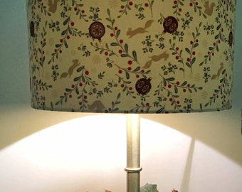 Squirrels and baubles 30cm Christmas lampshade with gold lining