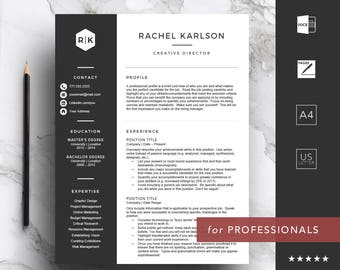 Professional resume template for Word & Pages   CV Template   1, 2, 3 Page Resume with Cover Letter   A4 and US Letter   Instant Download