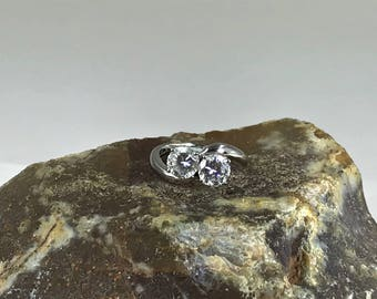 A Lovely Sterling Silver and Cubic Zirconia Two Stone  Ring UK Size J 1/2