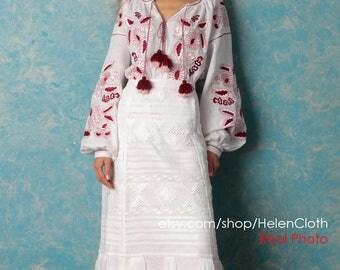 White midi skirt Vyshyvanka white linen skirt and blouse Embroidered skirt ukrainian blouse Wedding dress, long skirt with pattern higwaist