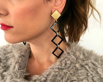 Black Earrings, Long Geometric Earrings, Long Earrings, Geometric Jewelry, Gift for Her, Made from Plexiglass with Clips.