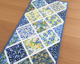 Summer Table Runner, Blue Quilted Table Runner, Floral Patchwork Table Topper, Table Centrepiece, Fabric Table Mat, Mothers Day Gift