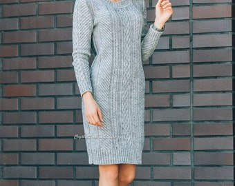 Gray womens knitted dress long sleeve Spring dress Wool dress knitted Oversized dress warm Autumn dress knee Woman Office dress Winter
