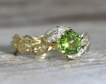 Peridot Ring, Leaf Engagement Ring, Peridot Leaves Engagement Ring, Unique Engagement Ring, Gemstone Ring, August Birthstone