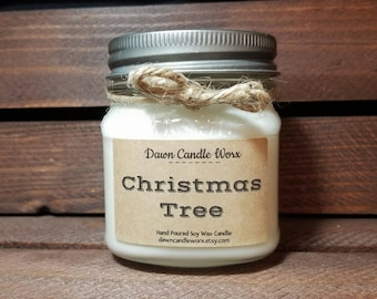 8 oz Christmas Tree Scented Soy Candle - Holiday Candle - Mason Jar Candles - Rustic Candle - Christmas Candle  - Coworker gift - Boss Gift