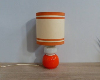 Seventies table lamp, bedside, desk pop vintage orange Seventies table lamp, bedside table, vintage orange desk pop