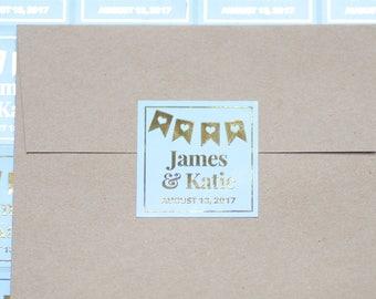 9 Personalized Wedding Sticker Labels Invitation Stickers Favor StickersGold Foil