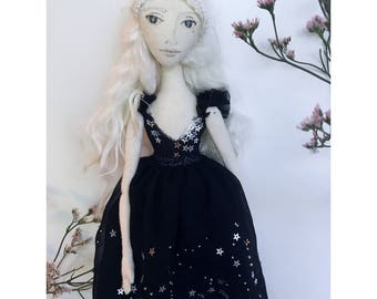 ELEANOR Collectible Handmade Fabric Art Doll OOAK Textile Soft Sculpture
