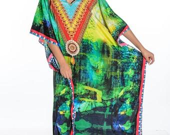 plus kaftan, oversize maxi kaftans, caftan dress beach kaftan dress abstract digital print green dress