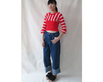 Vintage Red and White Stripy Knit Top • Bold Quarter Sleeves Stretchy Top • Retro Stripe Print Pattern Top • Bat Sleeves • 80s 90s • S Small