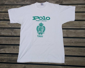 Vintage 80's / 90's Polo Ralph Lauren Crest white t-shirt Made in Canada Large