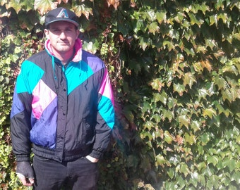 Amazing and bright 80's / 90's Colourful Winter Jacket Parka Bomber Pink Teal Purple Black Made by Pro Sports