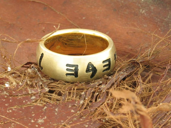 Women wedding band gold engraved ring Ancient Hebrew band