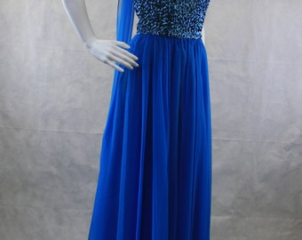 Blue Sequin Chiffon Scalloped Strapless Prom Dress 80's 90's | Peacock | Mermaid | Mike Benet Formals | 80's/90's does 1950's | Vintage NWT