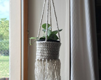 PDF PATTERN fringed crochet hanging basket tutorial