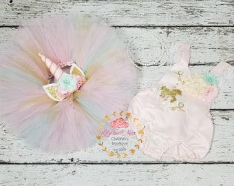 Unicorn Birthday Outfit, Unicorn headband, Unicorn pink mint and gold tutu set, Unicorn Romper, Rainbow unicorn set, Unicorn Girls Costume