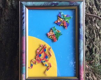 Rainbow  origami lake scene picture art. Origami frog ,lily pads / flower dimensional 3d wall art