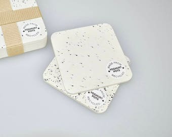 White Yoghurt Pot Coasters - Pack of Four - Housewarming Gift - Table Decor