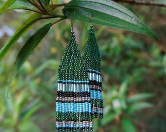FREE SHIPPING Green Seed Bead Earrings, Long Beaded Earrings, Earrings Dangle Boho, Striped earrings Green earrings, Unique gift earrings