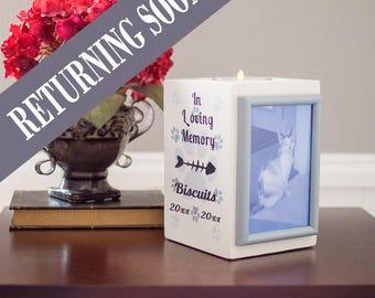 Pet Loss Frame, Pet Memorial Picture Frame, Personalized Pet Memorial Gift, Pet Memorial Candle, Dog Memorial Gift, Cat, Pawprints In Heaven