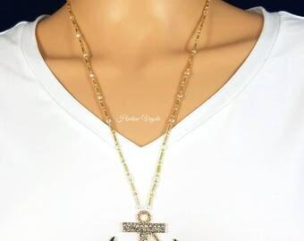 Anchor necklace, necklace, anchor pendant, gold anchor, anchor, nautical necklace, gold nautical necklace, gold anchor pendant, gold neckla