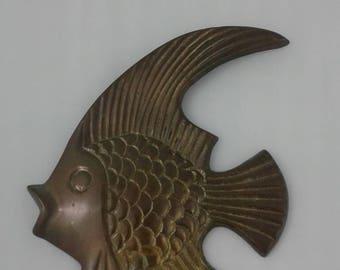 Vintage Brass Goldfish Wall Hanging Wall Art Design Nautical Wall Art Stylized Goldfish Figurine