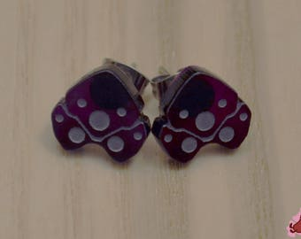 Overwatch Widowmaker Stud Earrings, Infra-Sight Symbol (purple transparent acrylic, laser-cut)