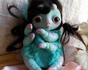 messy hair caterpillar girl- blue caterpillar doll, art doll, ooak bug girl doll, strange doll, fairy doll, fae