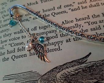 Beaded Tibetan Silver Bookmarks - Angel Wing