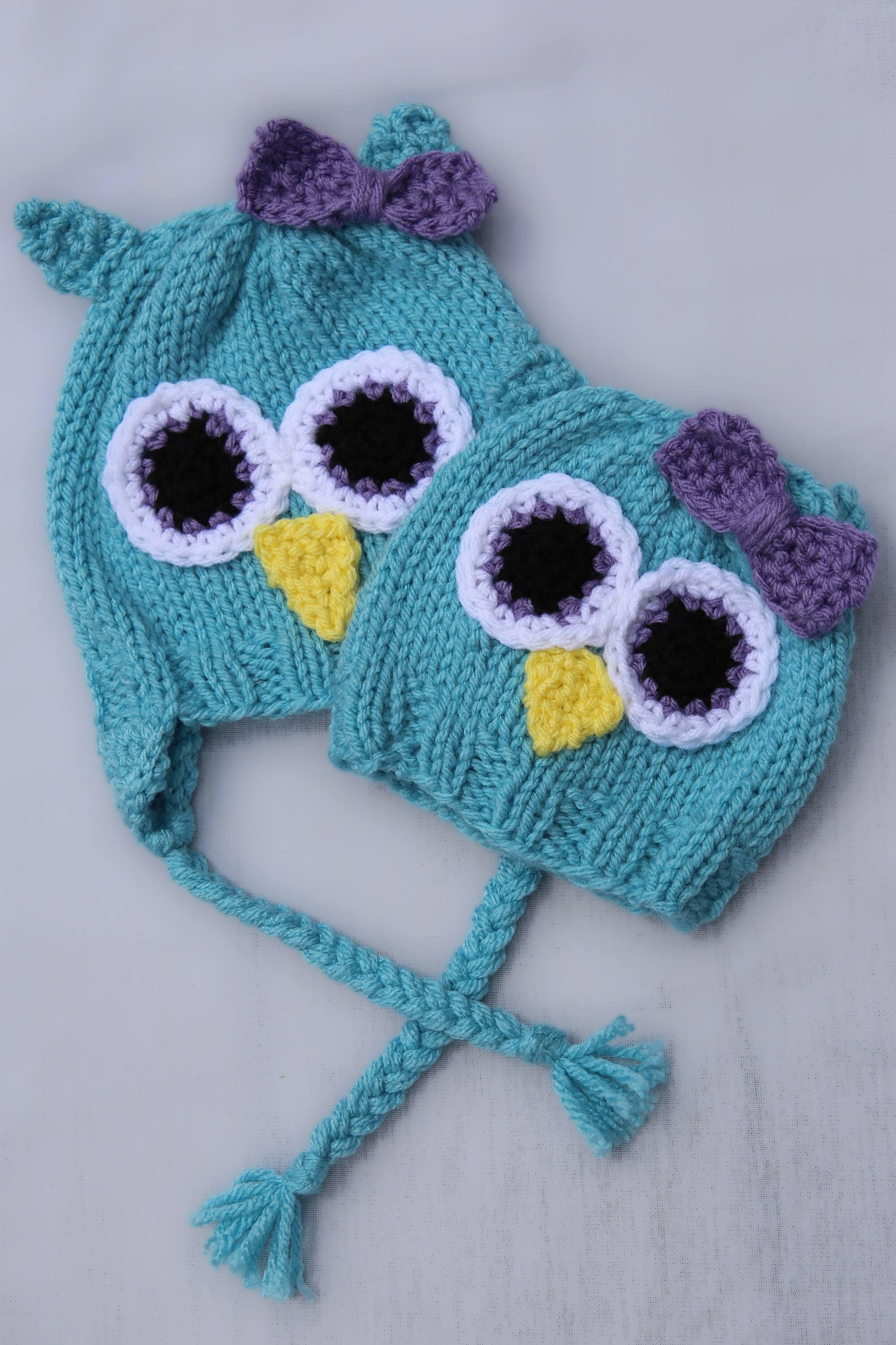 Aqua Blue Knitted Owl baby Hats baby shower t