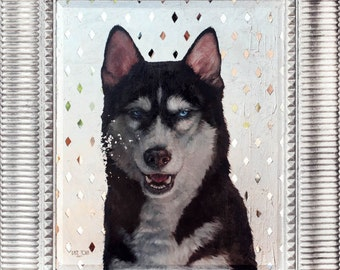 Custom OIL on SILVER Pet Siberian husky portrait Luxurious High Quality Realistic painting from a photo unique Wall Art gift for dog lover.