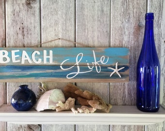 Beach Life Sign, Beach Life Decor Wood, Beach Life Decor, Beach Life Art Wood, Beach Life Sign Wood, Beach Life Wall Art Decor, Coastal Sign