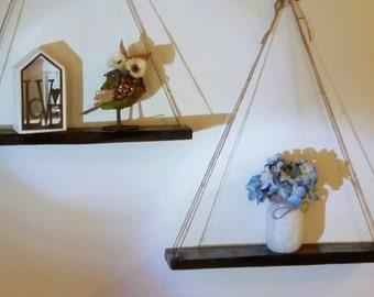 Set of 2 - Rustic Pallet Shelves with Live Edges, Hanging Shelves, Hanging Reclaimed Wood Shelves, Live Edge, Hanging Swing Shelf