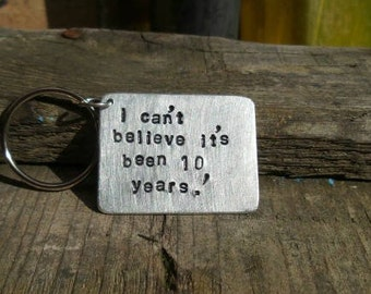 10 Year Wedding Anniversary Tin Aluminium Gift Keyring Keychain Ten Years Gifts Wife to Husband True Love Together Forever Jewelry FREE POST