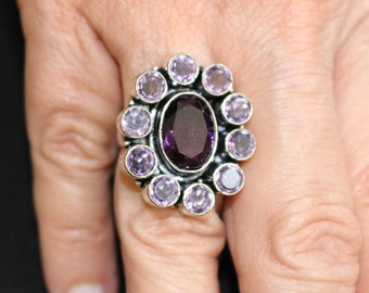 Amethyst Quartz Flower Ring- size 7.5!